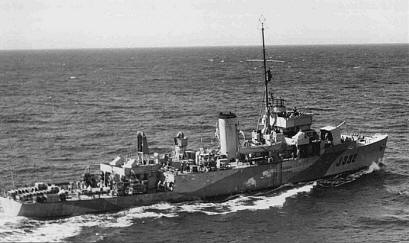 A Canadian Algerine Class minesweeper with depth charges,
