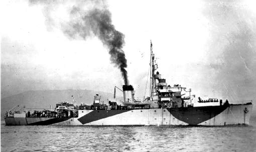 The British Minesweeper 'Vestal' an Algerine class minesweeper off Plymouth Sound